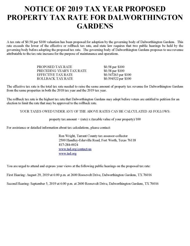 Tax Rate Hearing Notice
